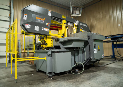 Horizontal band saw in fabrication plant