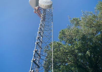 Outdoor shot of erect self-supported radio tower