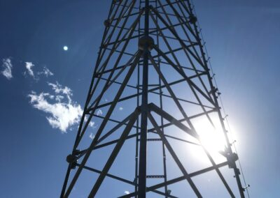 Outdoor picture of erect self-supported tower